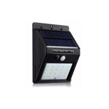 Светодиодный фонарь с датчиком движения 609 + solar 20 диодов черный (45092)