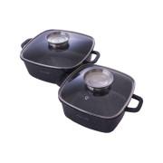 Набор посуды антипригарный Kamille - 2,3 x 4,4 л Black Marble (2 шт.) (4434)
