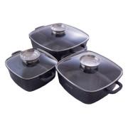 Набор посуды антипригарный Kamille - 2,3 x 4,4 x 6,5 л Black Marble (3 шт.) (4435)