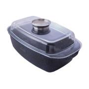 Гусятница антипригарная Kamille - 5,5 л Black Marble (4433)